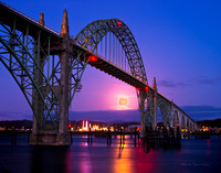 NOV 2012 IMAGE OF THE MONTH -SUPER MOON RISE - UNDER THE NEWPORT BRIDGE